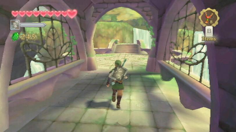 """Link läuft durch einen überdachte Brücke im Wald in """"The Legend of Zelda: Skyward Sword""""."""
