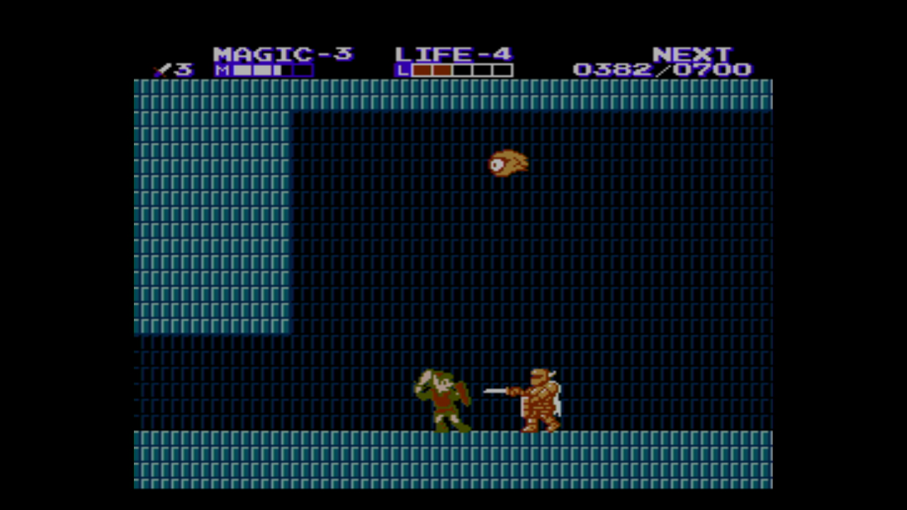"Link kämpft gegen einen vollgepanzerten Ritter in ""Zelda II: The Adventure of Link""."
