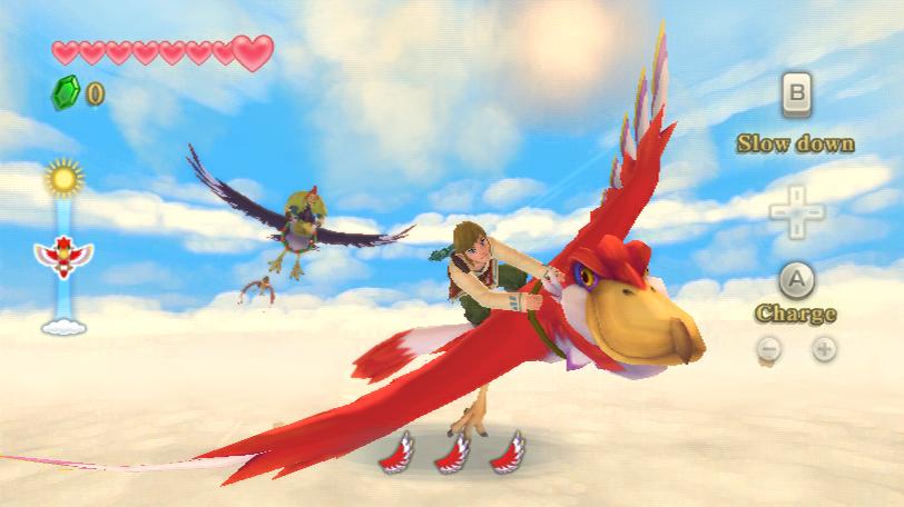 """Link fliegt auf seinem Wolkenvogel, verfolgt von Groose, in """"The Legend of Zelda: Skyward Sword""""."""