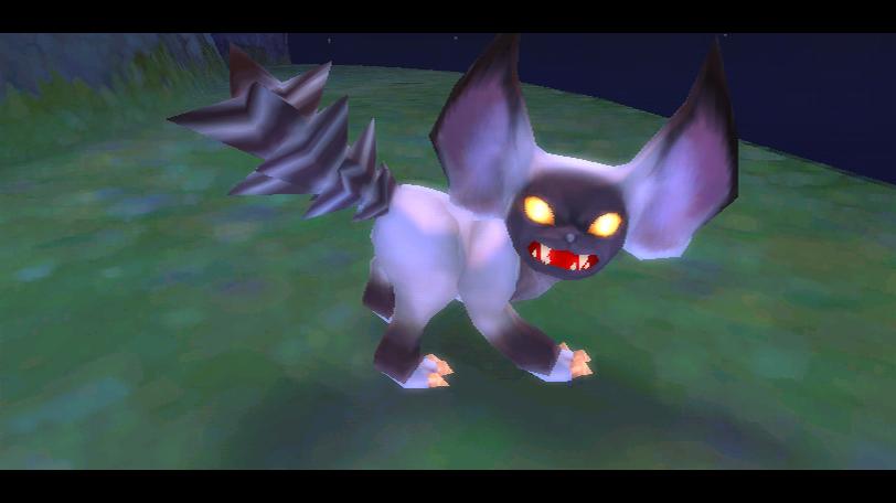 """Ein wütend blickendes, katzenartiges kleines Wesen mit glühenden Augen in """"The Legend of Zelda: Skyward Sword""""."""