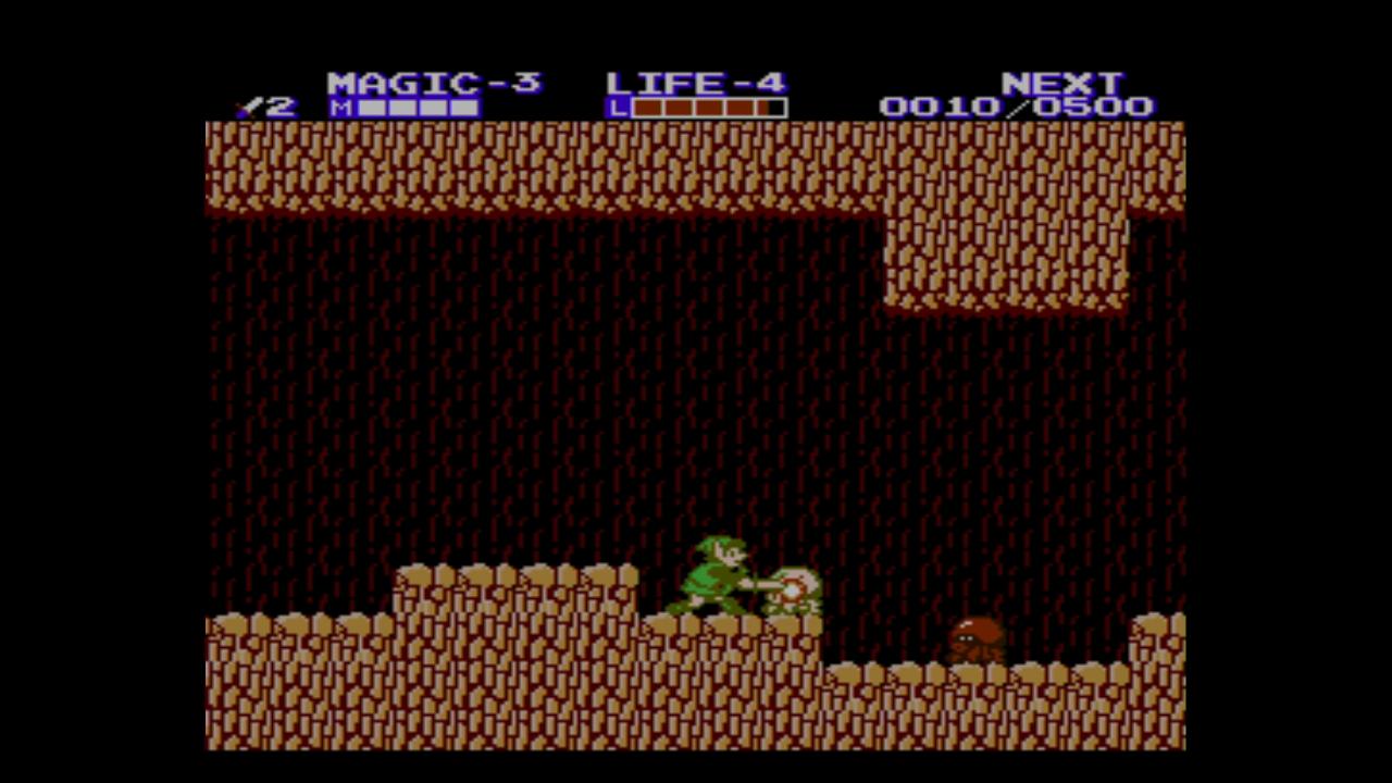 Link kämpft in einer Höhle gegen Oktorok-Landkraken (Bild aus Zelda II).