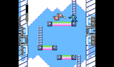 Mega Man kämpft in luftigen Höhen gegen fliegende Roboter in Mini-Planetenform (Bild aus Mega Man IV).
