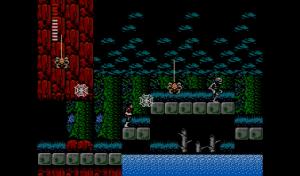 Simon Belmont bekommt es im nächtlichen Wald mit einer Riesenspinne und einem Skelett zu tun (Bild aus Castlevania II).