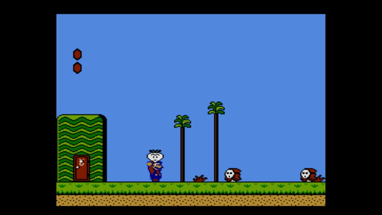 """Shy Guys schicken sich an, Mario zu attackieren, während sich dieser mit Gemüse """"bewaffnet"""" hat (Bild aus Super Mario Bros. 2)."""