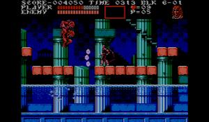 Alucard kämpft mittels geworfener Energiebälle gegen aus dem Wasser springende Fischmenschen (Bild aus Castlevania III).