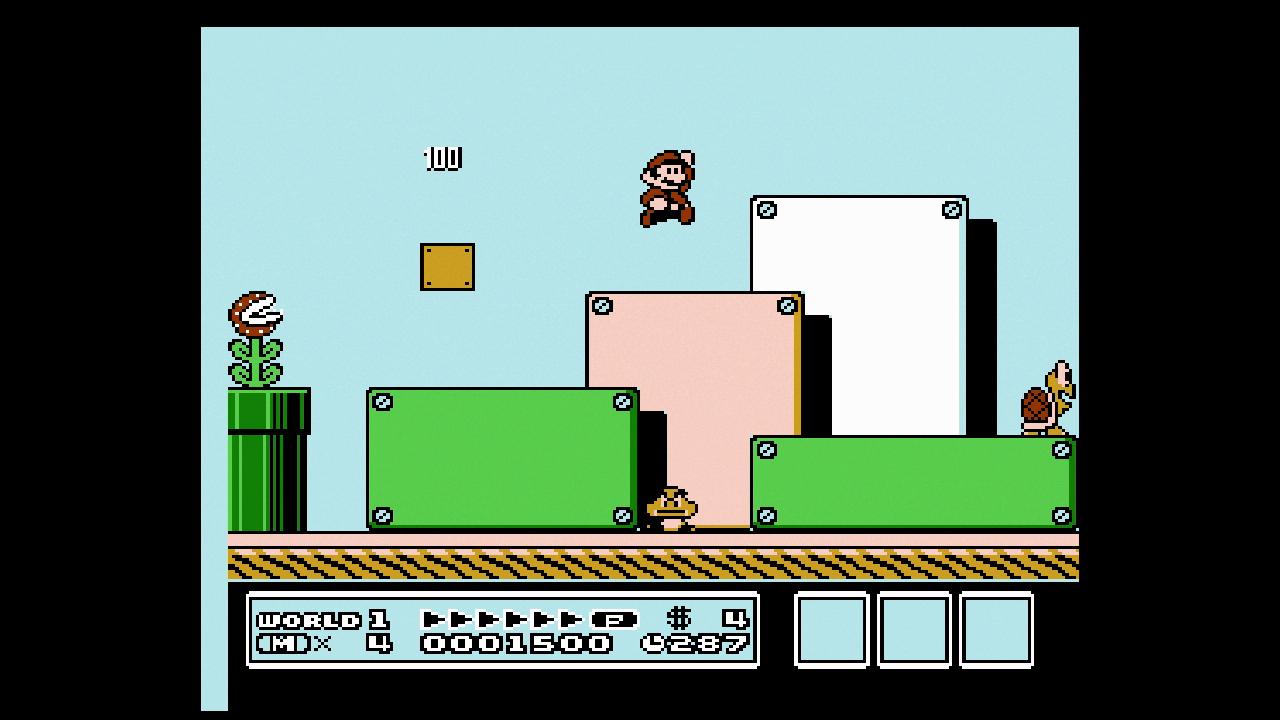 Mario springt durch eine Landschaft aus bunten Blöcken, umringt von einer Piranha-Pflanze, einem Gumba und einem Koopa (Bild aus Super Mario Bros. 3).