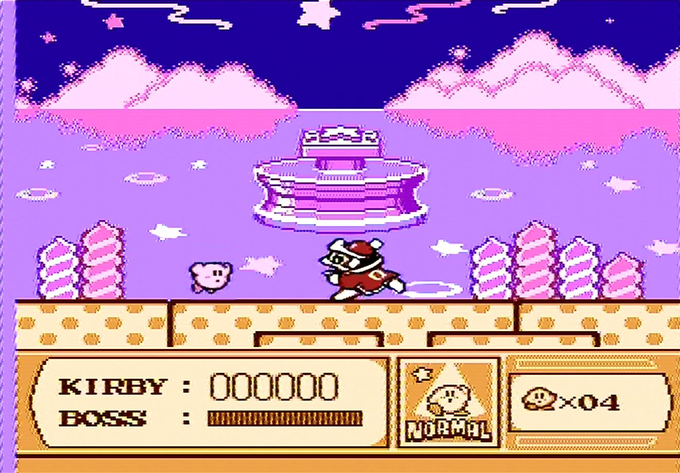 Kirby kämpft vor dem Traumbrunnen gegen König Nickerchen.