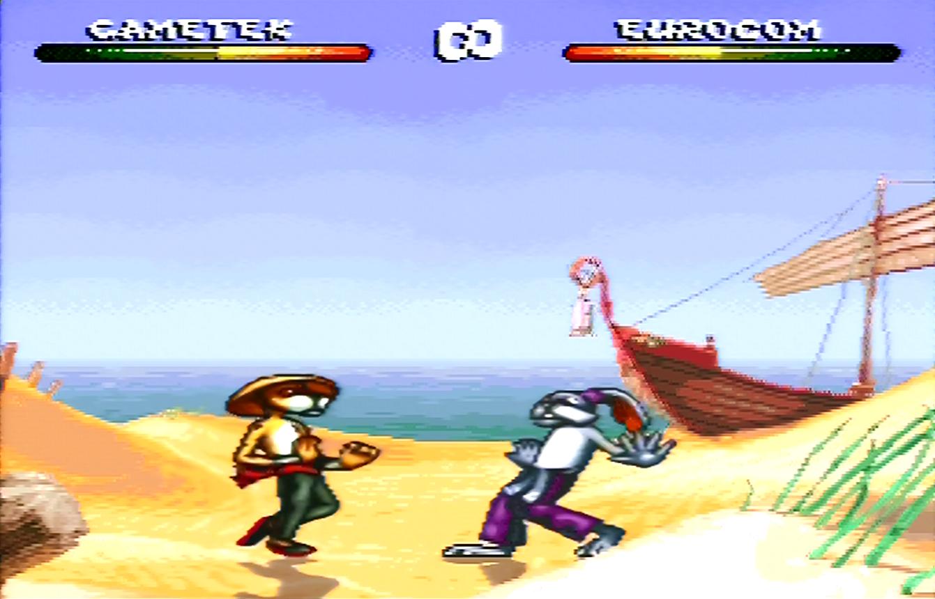 """Zwei aufrechtgehende Comic-Tiere, ein Gepard und ein Hase, kämpfen am Strand gegeneinander: Screenshot aus """"Brutal: Paws of Fury""""."""