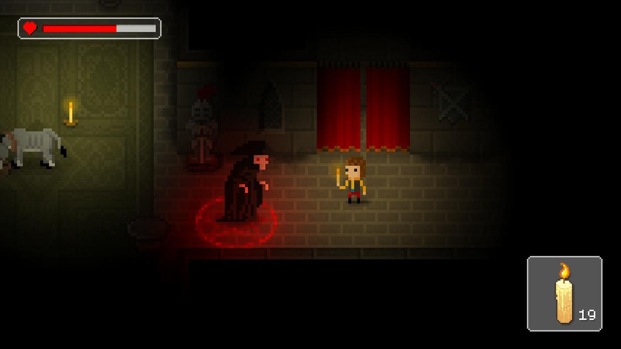 """""""The Count Lucanor""""-Ingame-Screen in stilisierter Pixeloptik: Hans, ebenfalls mit brennender Kerze in der Hand, wird im Grafenschloss gerade von einem Monster mit Maske und Kapuzenmantel entdeckt."""