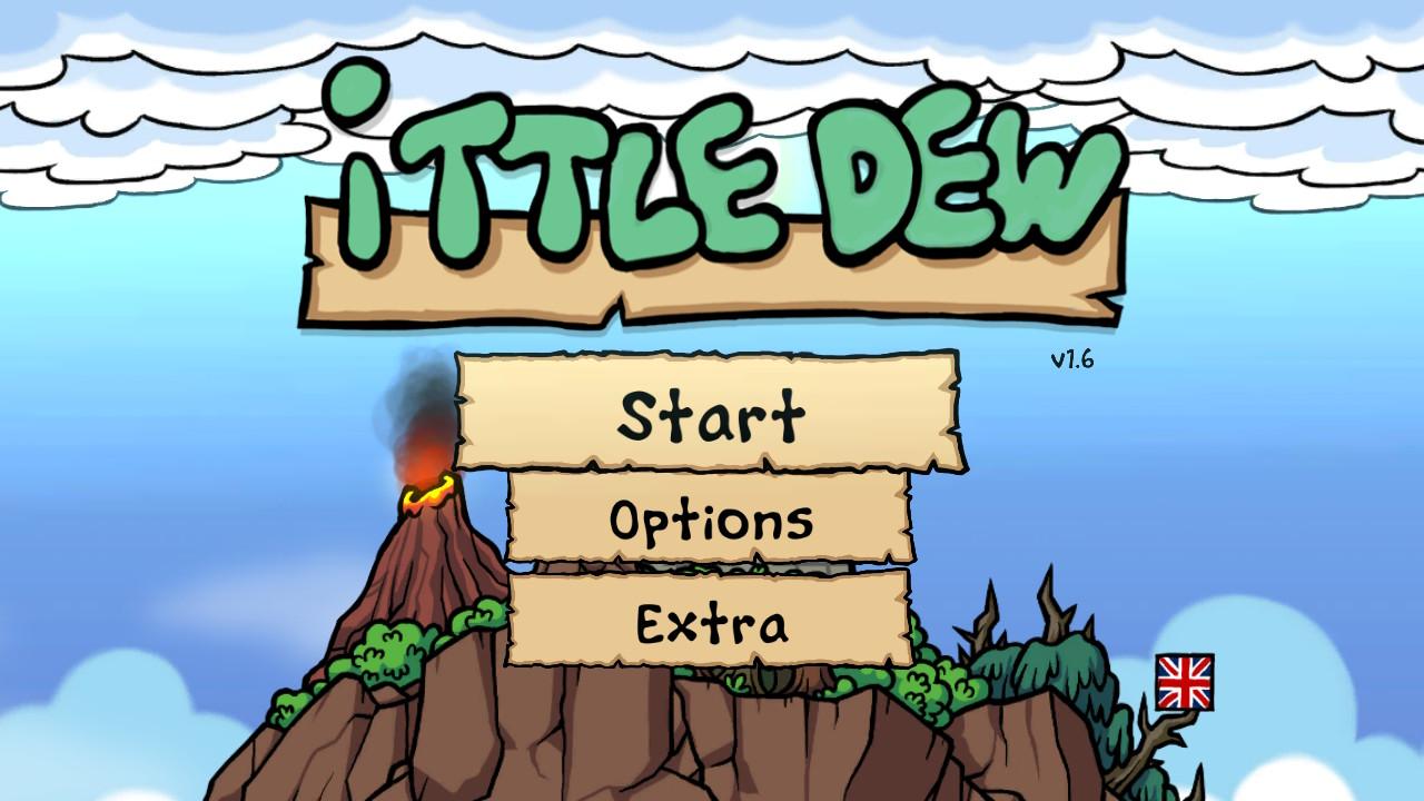 """Das """"Ittle Dew""""-Titelbild: Eine Insel mit knorrigen Bäumen und Vulkan vor blauem Himmel ist zu sehen."""