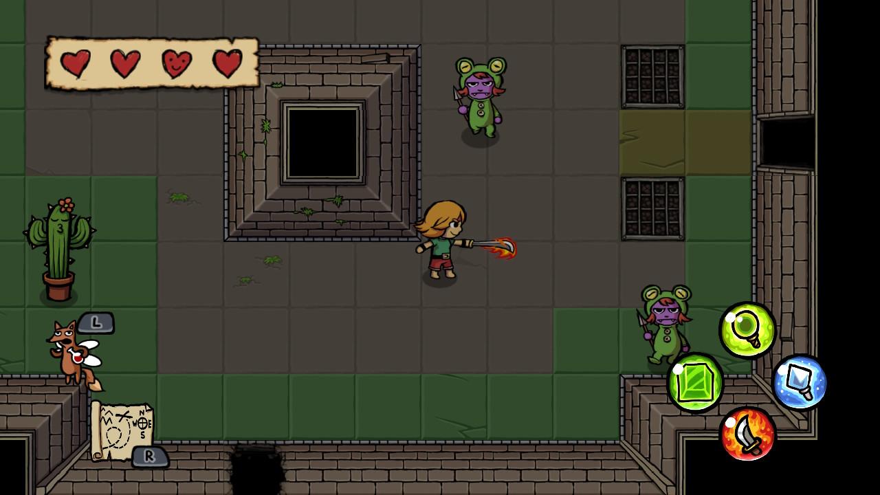 """""""Ittle Dew""""-Ingame-Screen in Comic-Optik: Ittle, eine junge Abenteurerin in Wams und kurzer Hose, kämpft in einer Burg mit einem Flammenschwert gegen seltsame Gestalten in Tierkostümen."""
