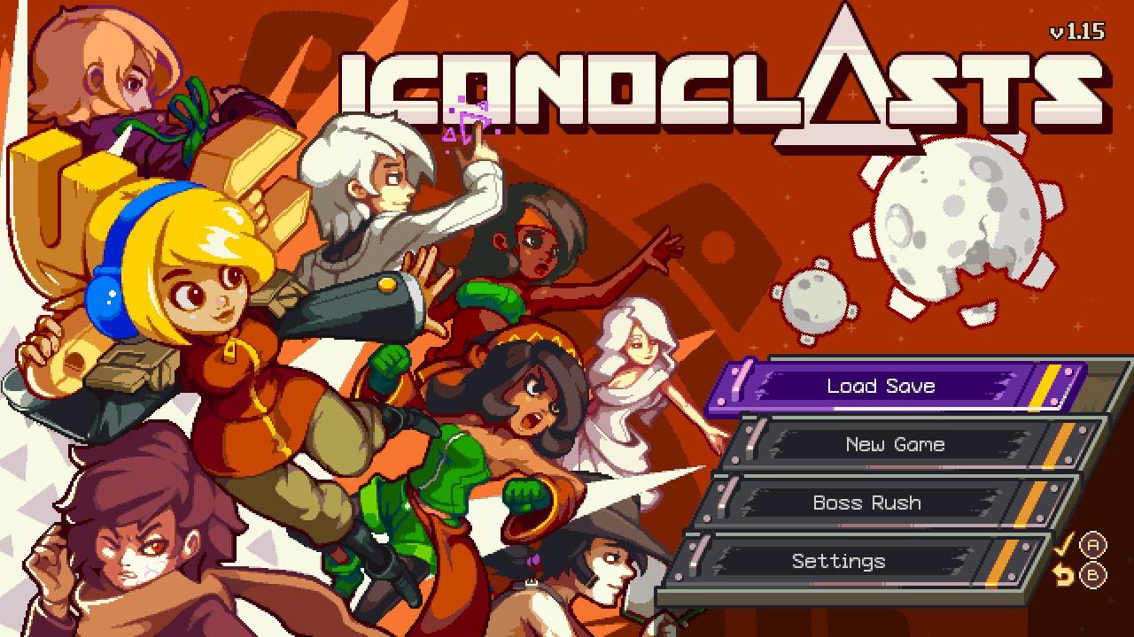 """Das """"Iconoclasts""""-Titelbild: Zahlreiche Charaktere sind zu sehen, darunter Protagonistin Robin, ein blondes Mädchen mit einem riesigen Schraubenschlüssel über der Schulter."""