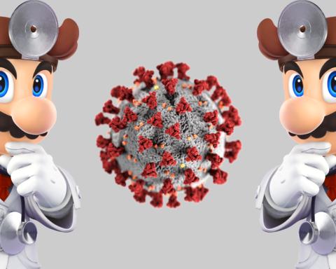 Zwei Dr. Marios untersuchen ein übergroßes Computer-Rendering des Coronavirus