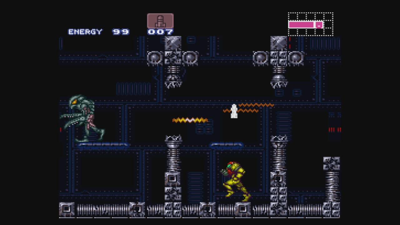 Samus kämpft in Ruinen gegen Weltraumpiraten: Screenshot aus Super Metroid.