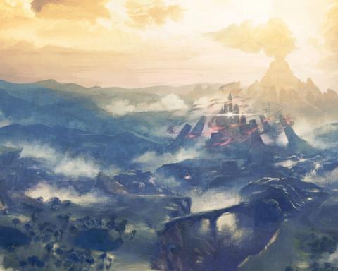 Eine Panorama-Ansicht von Hyrule mit der Burg im Zentrum: Ein Breath of the Wild-Artwork.
