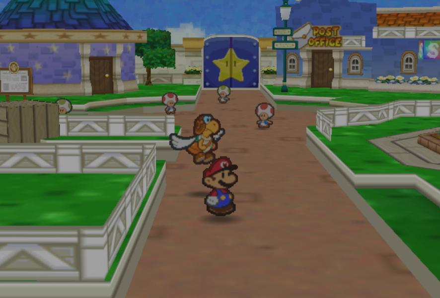 """Mario und ein fliegender Post-Koopa erkunden Toad Town: Screenshot aus """"Paper Mario""""."""