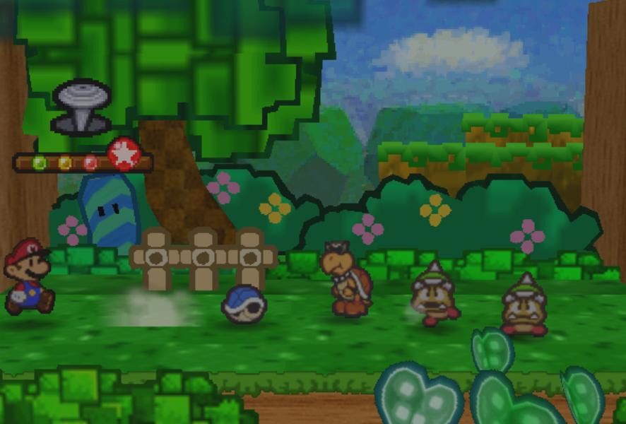 """Mario und eine ihm freundlich gesinnte Koopa-Schildkröte kämpfen gegen Bowsers Armee: Screenshot aus """"Paper Mario""""."""