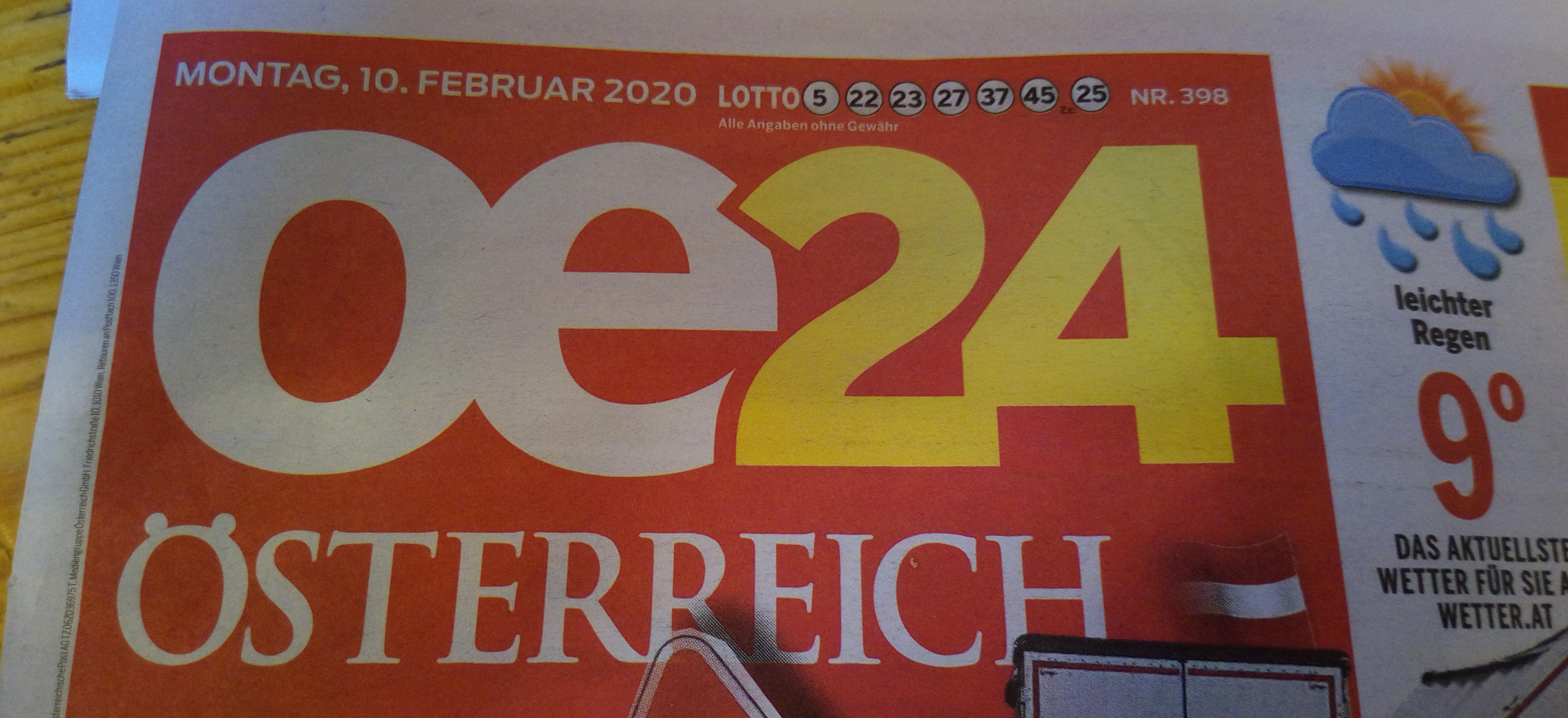 """Ein Teil eines """"Österreich""""-Covers, der das zugehörige Logo zeigt."""
