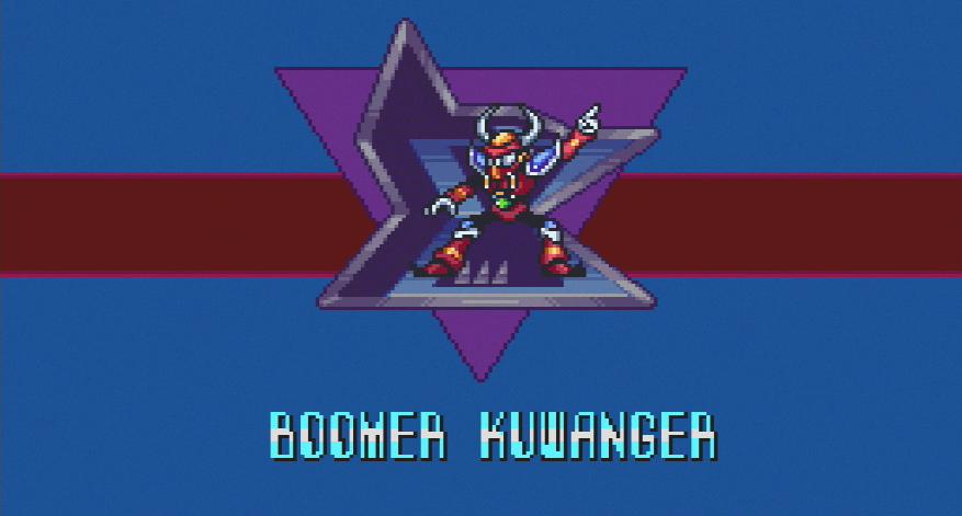 """Ein metallischer humanoider Roboter-Stier wirft sich in Kampfpose, darunter steht sein Name: """"BOOMER KUWANGER"""". Screenshot aus Mega Man X."""