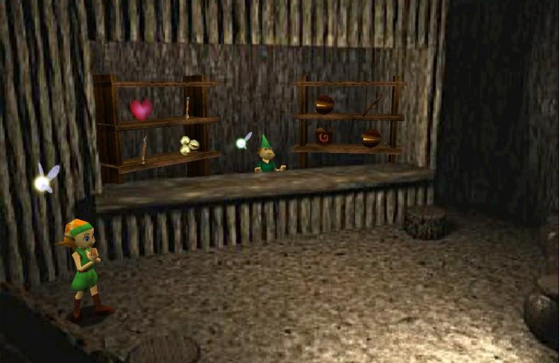 """Ein idyllischer Laden in einer Waldhütte mit grüngekleidetem Verkäufer: Screenshot aus """"The Legend of Zelda: Ocarina of Time""""."""