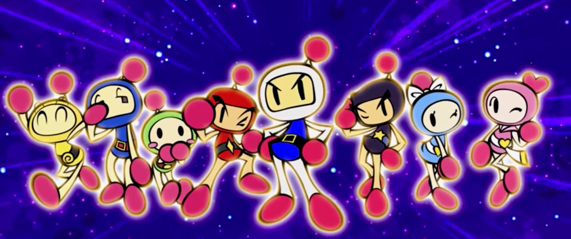 """Acht """"Bombermen"""" - comichafte bunte Gestalten in verschiedenfarbigen Helmen - posieren als Gruppe: Artwork aus """"Super Bomberman R"""" (Switch)."""