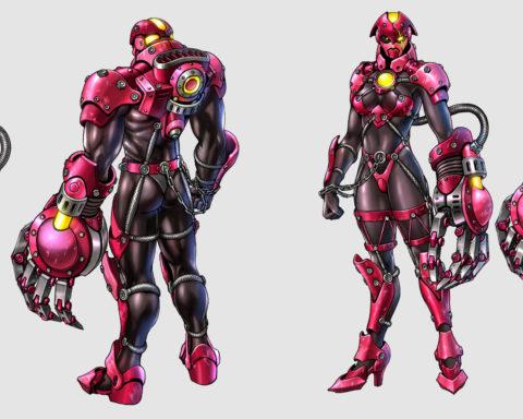 """Zwei künstliche Menschen, eine Frau und ein Mann, mit spärlicher, aber futuristischer Rüstung in Vor- und Rückansicht: Artwork aus """"Bomberman Act Zero"""" (Xbox 360)."""