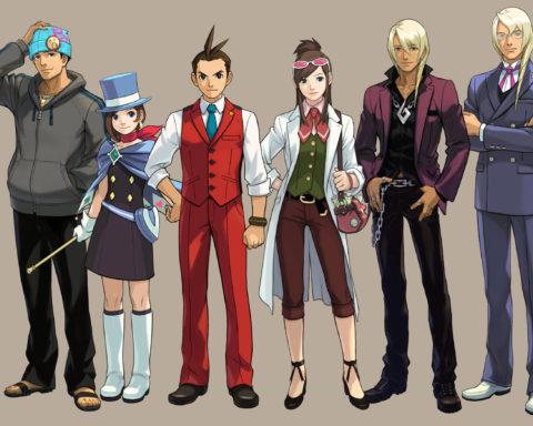 """Ein Gruppenbild der wichtigsten Charaktere aus """"Apollo Justice: Ace Attorney"""" (Capcom)."""