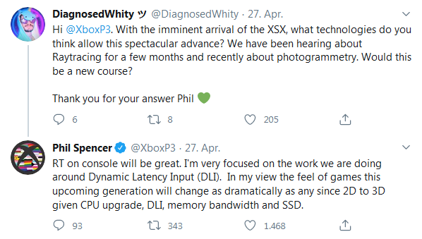"Ein Tweet von Phil Spencer inklusive der Aussage ""In my view the feel of games this upcoming generation will change as dramatically as any since 2D to 3D [...]"""